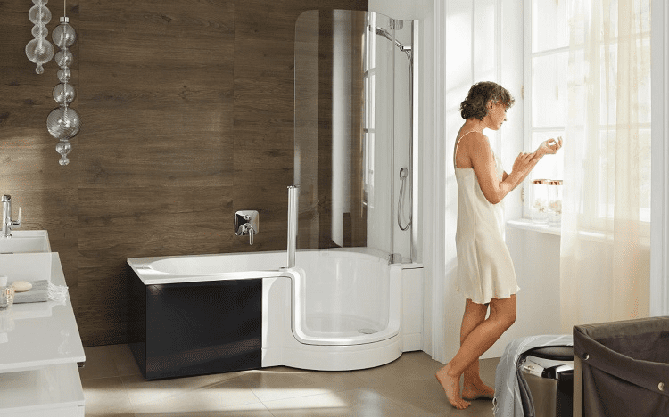 Woman In Modern Bathroom