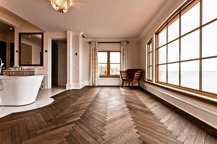 Solid Hardwood Flooring In Bathroom