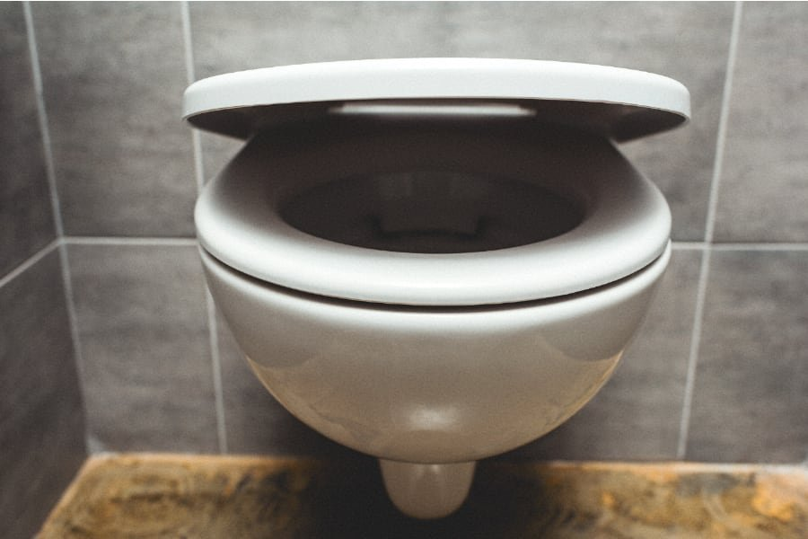 ceramic toilet bowl with lid