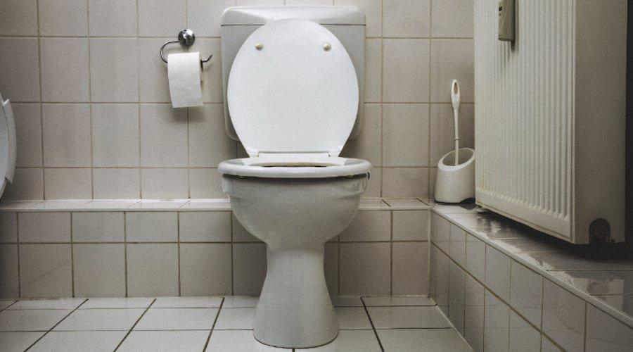 floor mounted white toilet